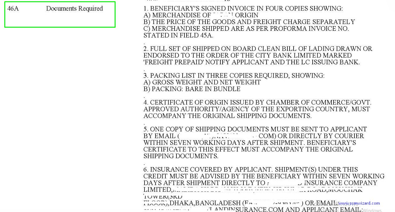 Field 46a Documents Required In Letter Of Credit L C Scm Wizard