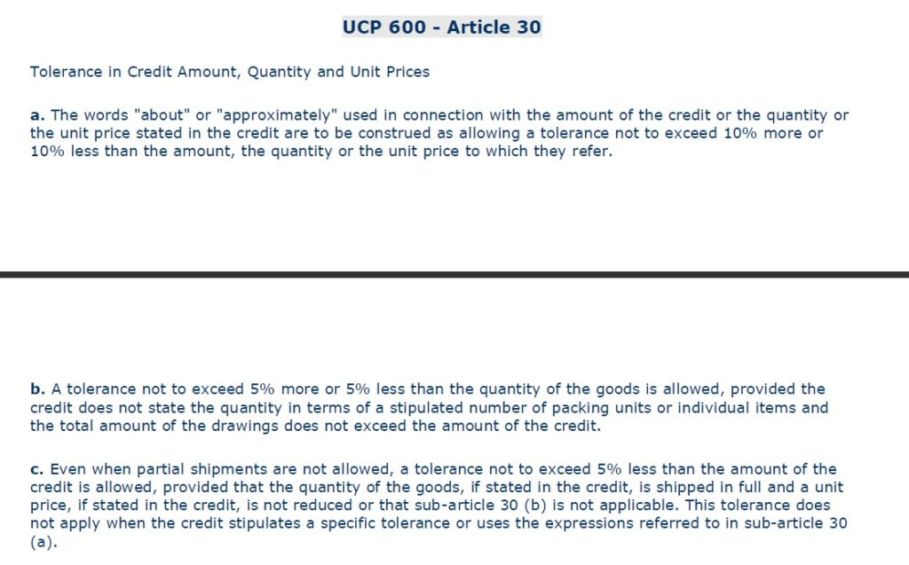 UCP600 Article 30